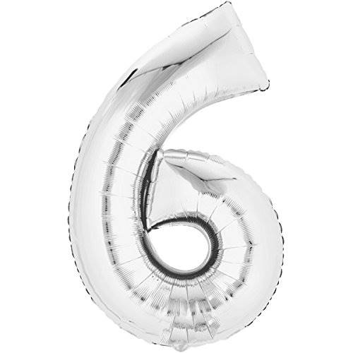 Balon foliowy SREBRNY cyfra 6 - do 80cm / Balloon number 6 - silver - 80cm 4038732711648 / 71164