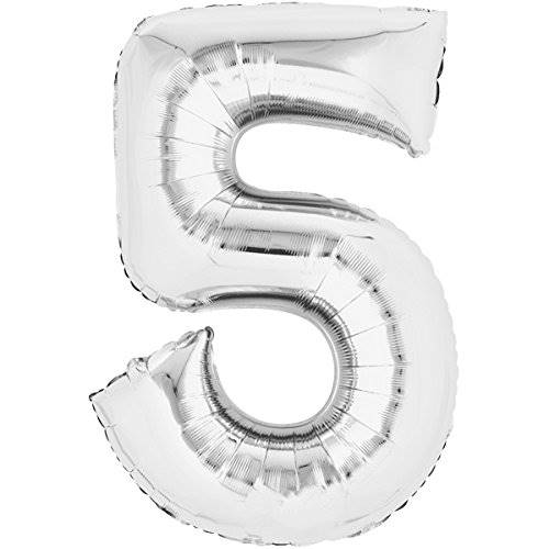 Balon foliowy SREBRNY cyfra 5 - do 80cm / Balloon number 5 - silver - 80cm 4038732711631 / 71163