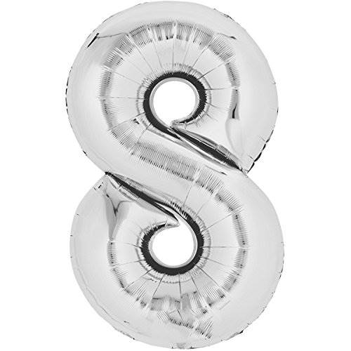 Balon foliowy SREBRNY cyfra 8 - do 80cm / Balloon number 8 - silver - 80cm 4038732711662 / 71166