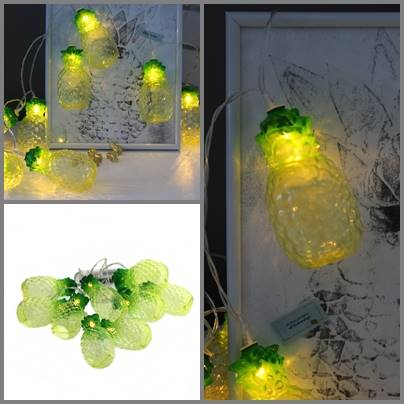 Lampki ledowe ananasy 10 szt / LED TROPICAL PINEAPPLE plastic chain 10 8712442952213 / 23362459