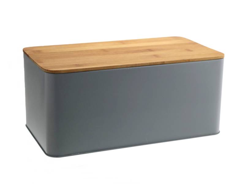 Chlebak metalowy z deską bambusową siwy / Metal Bread box with bambo board NL GREY 8712442969082 / 22172370