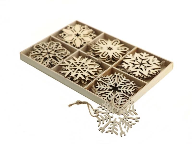 Deco zimowy zestaw drewnianych zawieszek 24 szt / Deco Xmas Christmashanger wood 24pcs 8712442971542 / 23102976