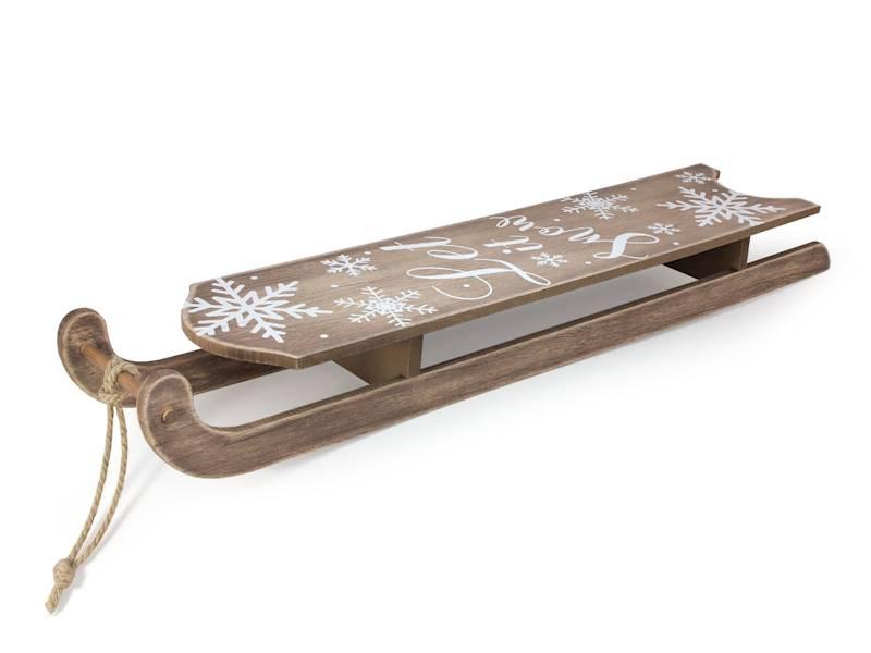 Deco zimowe dekoracyjne drewniane sanki duże 76 cm z napisem / Deco Winter wooden sleigh BIG 76 cm 8712442973973 / 23103202