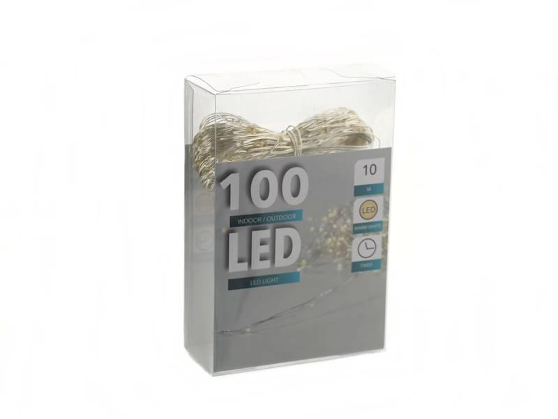 LED drucik ciepłe białe światło 100 diod ZEWNĘTRZNE / LED wire silver warm white 100 light AATO 8712442168430 / 23139484