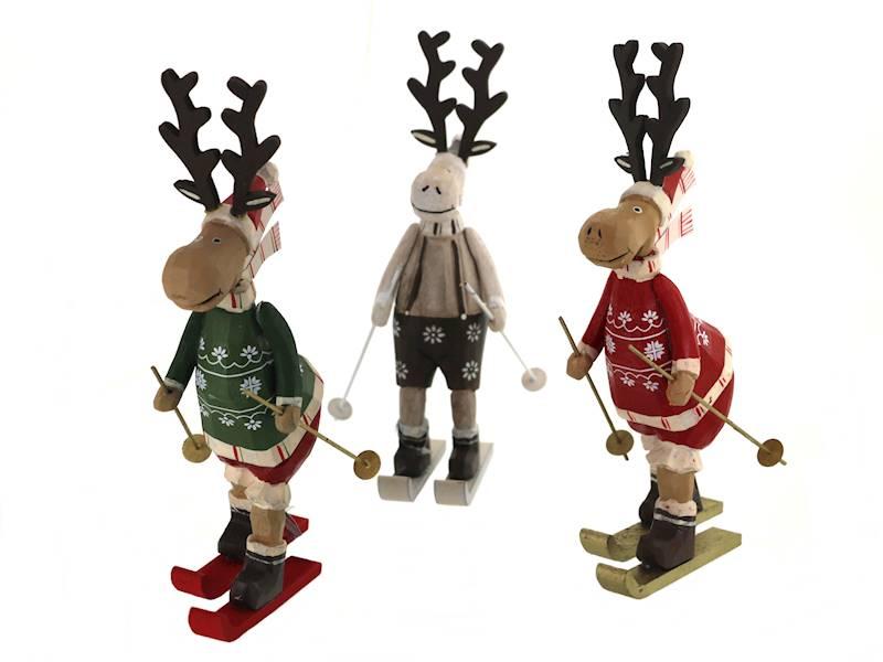 Deco zimowy ŁOŚ stojący na nartach 26 cm / Deco Winter deer on ski wood 26cm 8712442969174 / 23102828