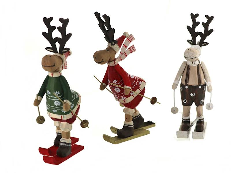 Deco zimowy ŁOŚ stojacy na nartach 22 cm 23102822 / Deco Winter deer on ski wood 22cm 8712442969143 /23102822
