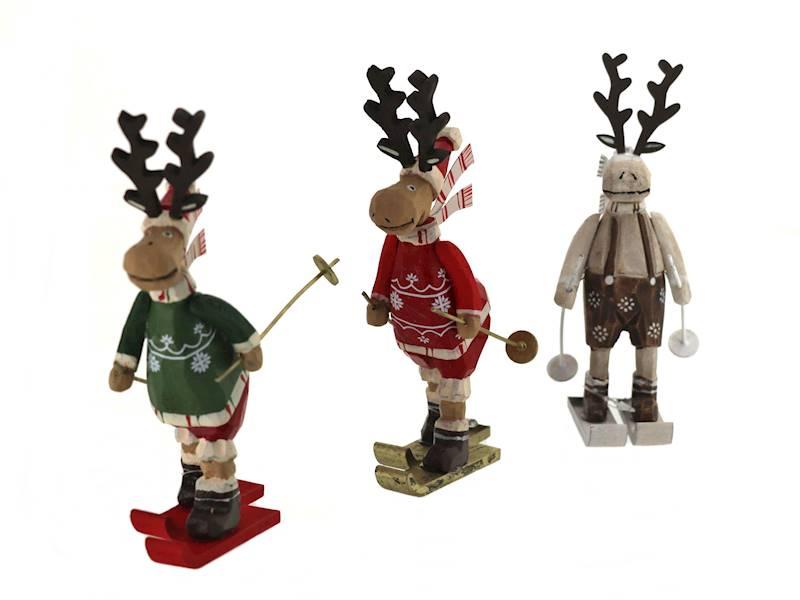 Deco zimowy ŁOŚ stojacy na nartach 16 cm / Deco Winter deer on ski wood 16cm 8712442969112 /23102816