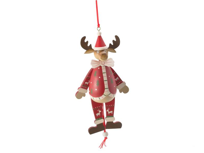 Deco zimowa drewniana zawieszka pajacyk-łoś 18.5cm / Deco Winter Reindeer puppet wood 18.5cm 8712442969204 /23102836