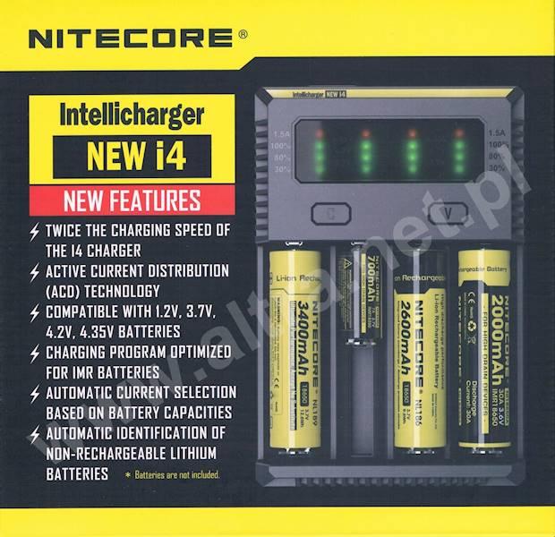ŁADOWARKA NITECORE New i4       Liion/LiFePO4/NiMh