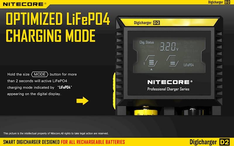 ŁADOWARKA NITECORE D2 EU        Liion/LiFePO4/NiMh