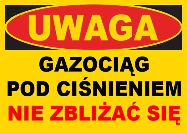 BTO-42 - ZNAK TABLICA - GAZOCIĄG POD CIŚNIENIEM