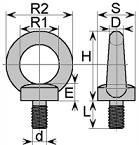 śruba z uchem podobna do DIN580 ocynkowana