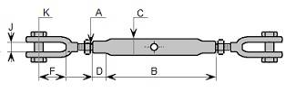 Śruba rzymska zamknięta ocynk.12mm w-w