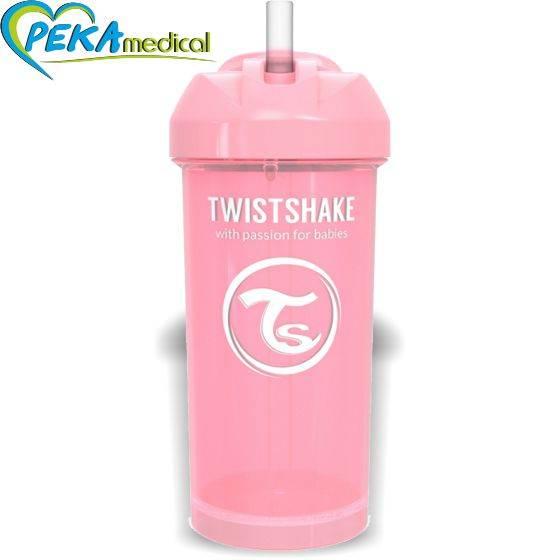 Twistshake Kubek niekapek ze słomką 360 ml różowy