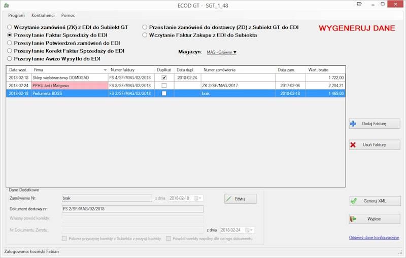 Program ECOD GT (EDI) dla INSERT GT (Kupujący)
