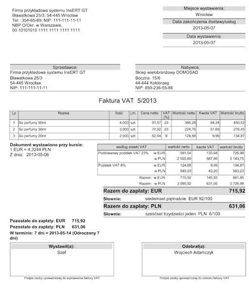 Wzorzec wydruku faktury do Subiekt GT VAT EUR/PLN