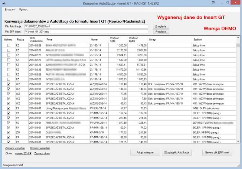 Program do konwersji danych Autostacja ->Insert GT