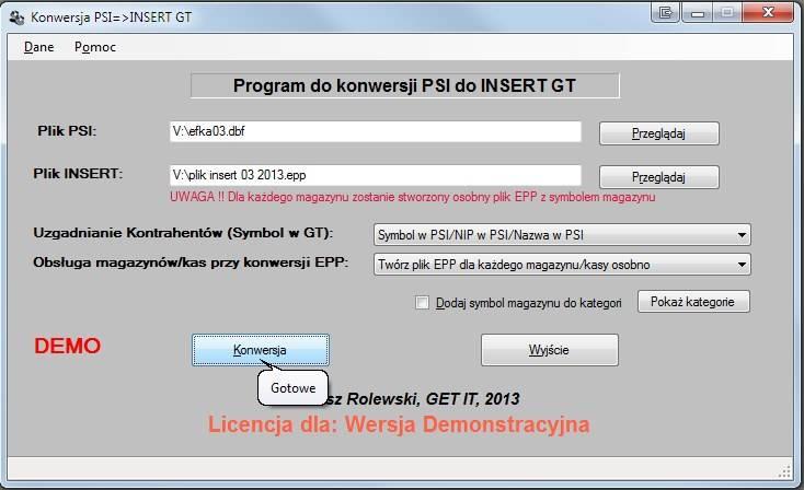 Program do konwersji danych PSI-INSERT GT