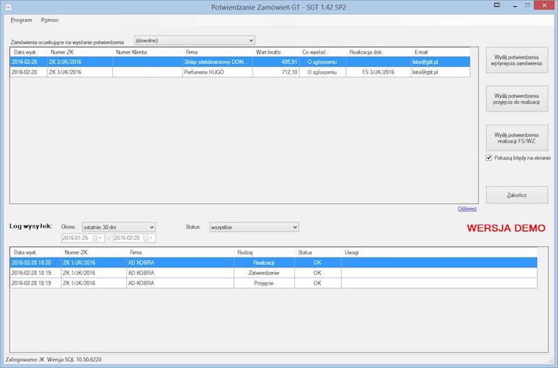 Program Potwierdzanie Zamówień GT dla INSERT GT
