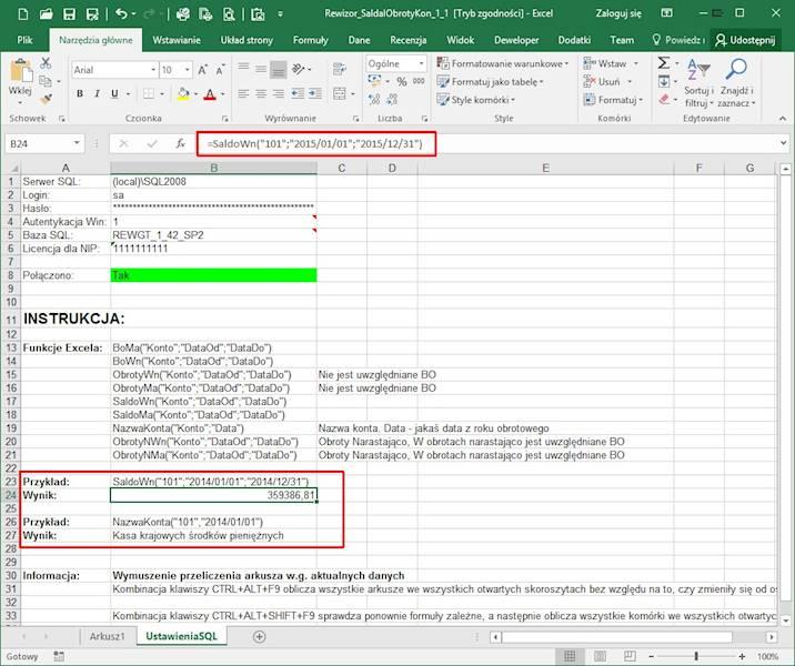 Program Arkusz Excel połączony z Rewizor GT