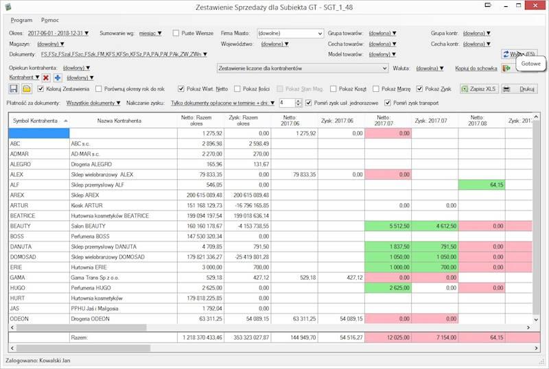 Program Zestawienia Sprzedaży dla SGT Aktualizacja