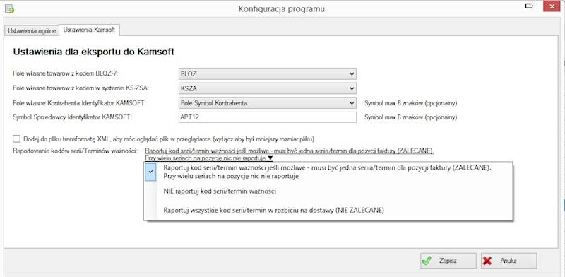 Program Eksport Faktur FS do formatu Kamsoft-XML