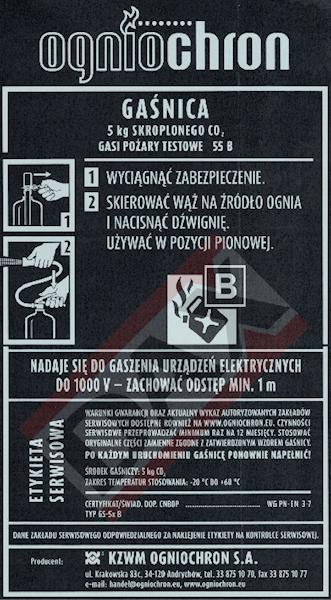 Etykieta serwisowa GS-5x B