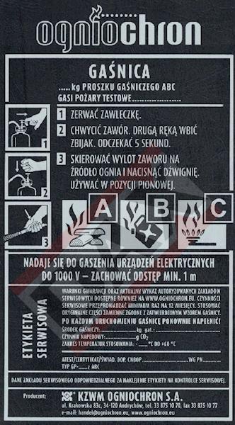 Etykieta serwisowa GP-6/12z ABC
