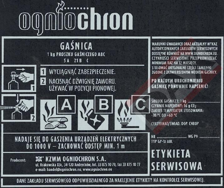 Etykieta serwisowa GP-1z/x ABC