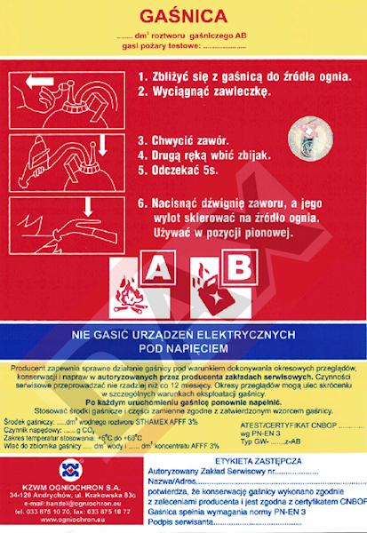 Etykieta serwisowa GW-6/9z AB