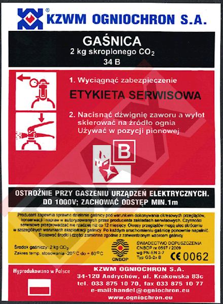 Etykieta serwisowa GS-2x B