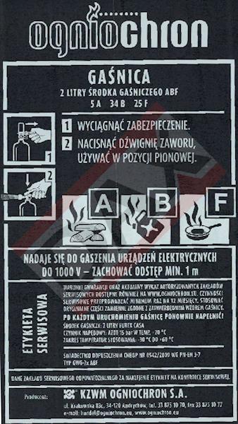 Etykieta serwisowa GWG-2x ABF (dysza plast.)