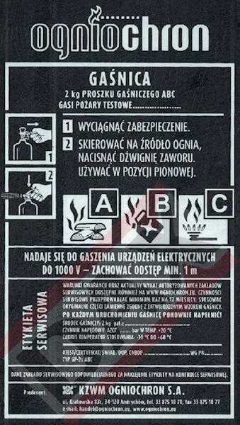 Etykieta serwisowa GP-2x ABC