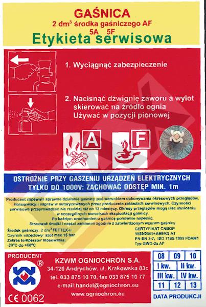 Etykieta serwisowa GWG-2 AF