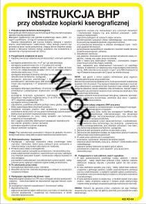 422 XO - 04 Instrukcja BHP pracy przy obsłudze kopiarki kserograficznej