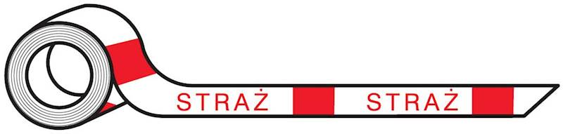 Taśma ostrzegawcza biało - czerwona z napisem STRA