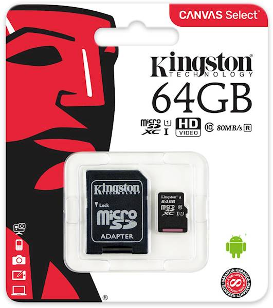 KINGSTON CANVAS micro SDXC 64GB CL10
