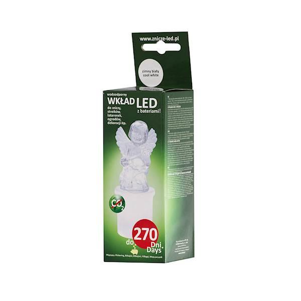 Znicz Anioł LED biały