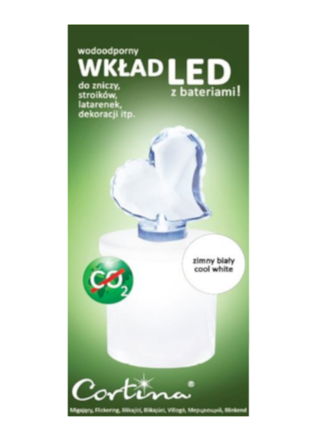 Wkład Serce LED białe