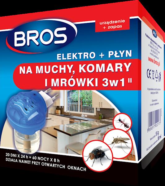 Elektro 3 w 1 na muchy, komary i mrówki z płynem