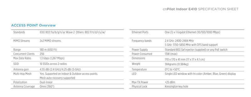 Cambium Networks cnPilot™ E410 Indoor(bez zas POE)
