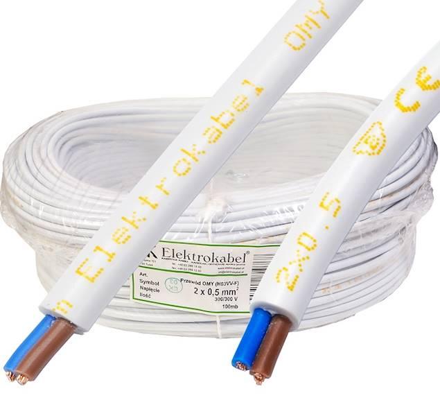 Przewód H03VV-F OMY 2x0,5 biały Elektrokabel 100m