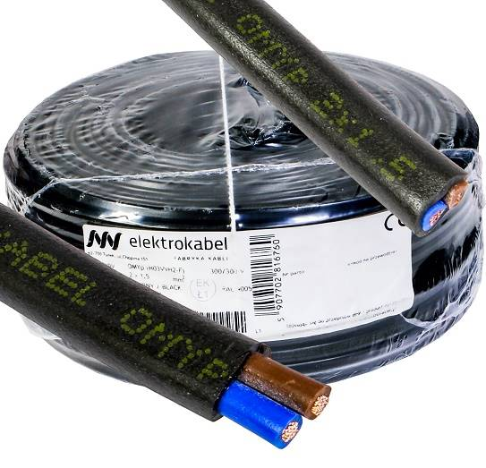 Przewód płaski OMYp 2x1,5 czarny Elektrokabel 100m