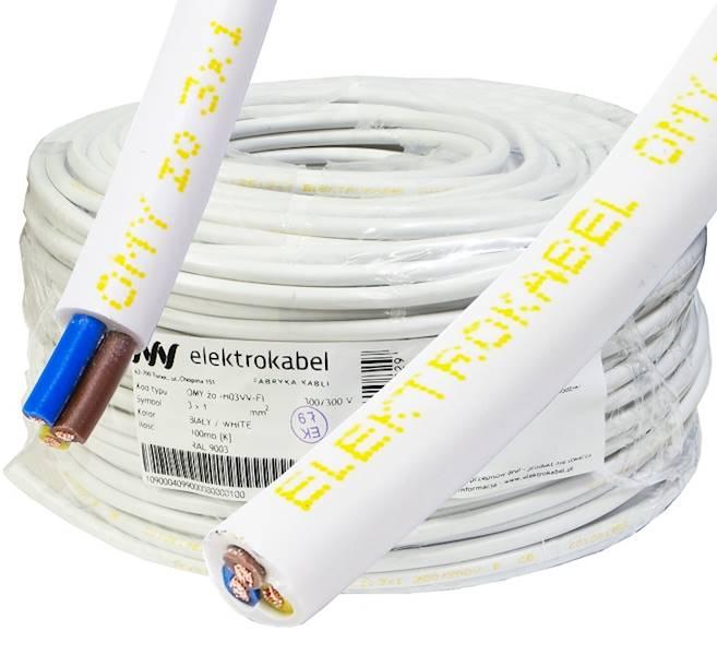 Przewód H03VV-F OMY 3x1 żo biały Elektrokabel 100m