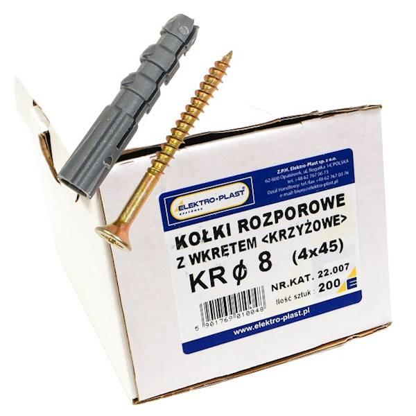 Kołek rozporowy z wkrętem KR fi8 4x45 200szt