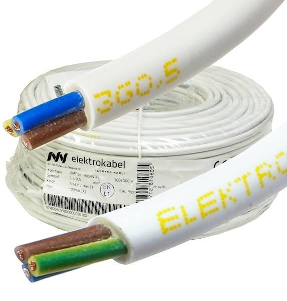 Przewód H03VV-F OMY 3x0,5 żo biały Elektrokab 100m