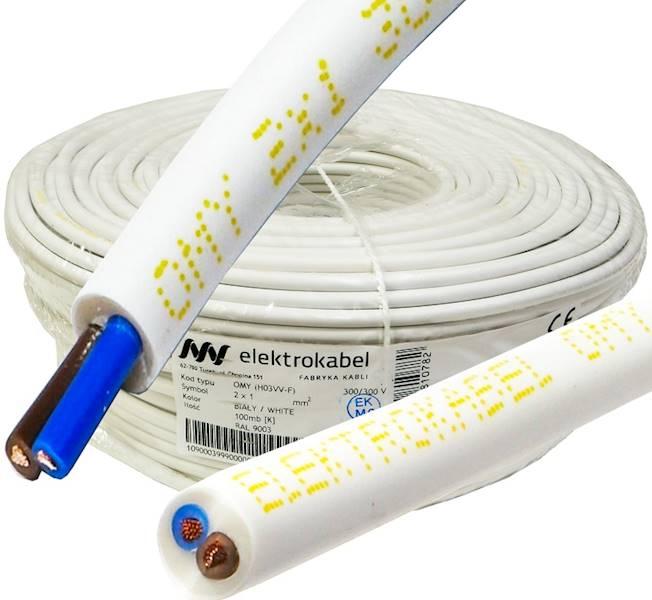 Przewód H03VV-F OMY 2x1 biały Elektrokabel 100m