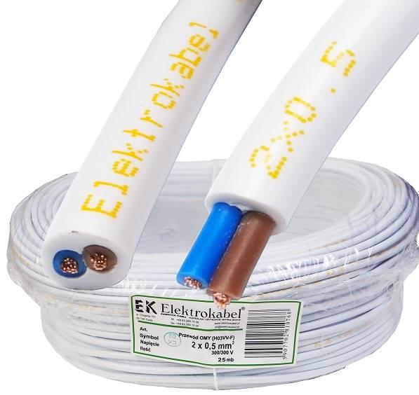 Przewód H03VV-F OMY 2x0,5 biały Elektrokabel 25m