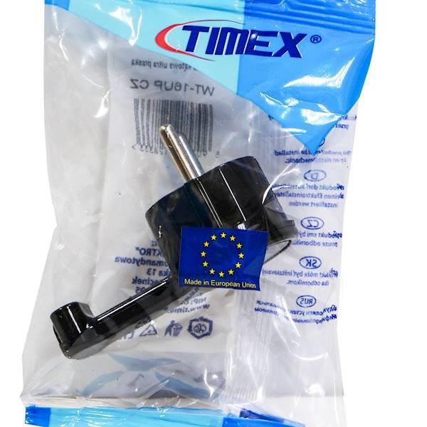 Wtyczka kątowa płaska WT-16UP Czarna TIMEX-Elektro