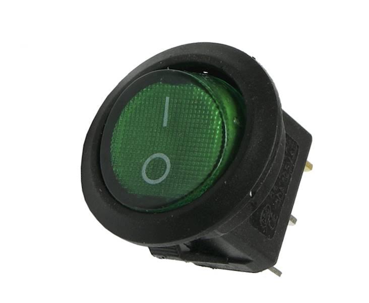 Łącznik kołyskowy podś.okrągły zielony 230V